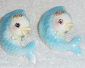 RARE Vintage Napco Fish Wall Plaque Lefton Candle Hugger Climbers Napkin Holders Mermaid Blue 1950s PY Japan Kitsch