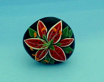 Spring gifts-for her-grandmother nana gifts-birthday-get well-ooak 3D hand painted botanical ring-red daylily-painted rock-statement jewelry