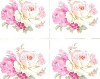 """Rose Pink Flower 4.25"""" Kiln Fired Ceramic Tile Backsplash Decor Set of Four"""