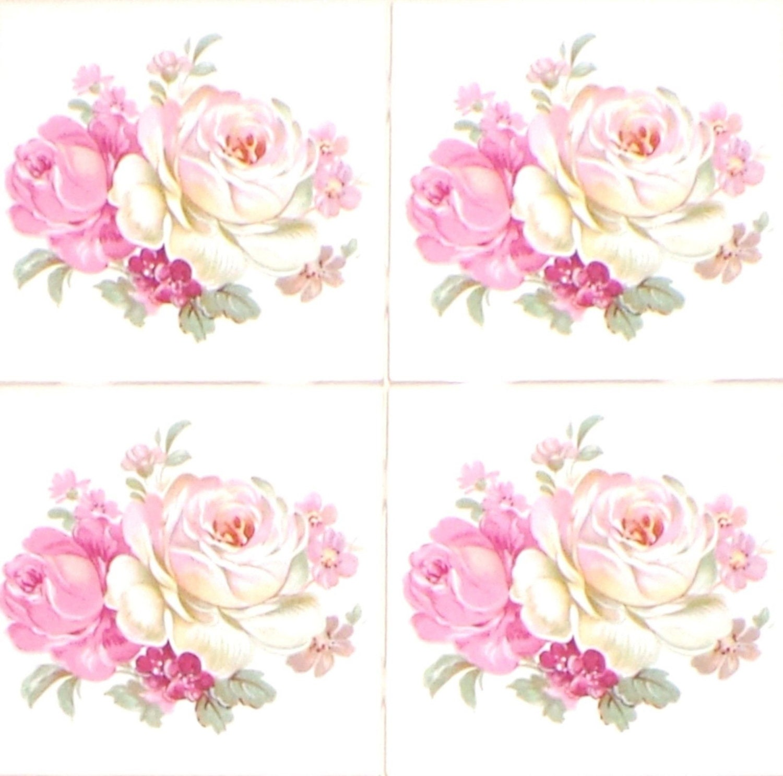 Rose Pink Flower 4 25 Kiln Fired Ceramic Tile Backsplash