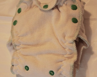 newborn small esbaby - organic fitted - lights out - nighttime - fitted cloth diaper - size 1 - green/lime green