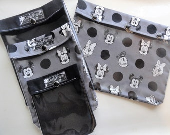 Disney Ouch Pouch Set of 4 Clear Pocket Travel Bags Organize First Aid Baby Supplies Diapers/Wipes Fish Extender Mickey Minnie Black & Gray