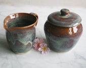 RESERVED for Gillian - Handcrafted Rustic Sugar Bowl and Pitcher Wheel Thrown Stoneware Pottery Made in USA