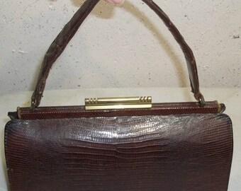 HOT SALE Vintage Palizzio Brown Lizard Skin Purse Handbag Doctor Bag Shape