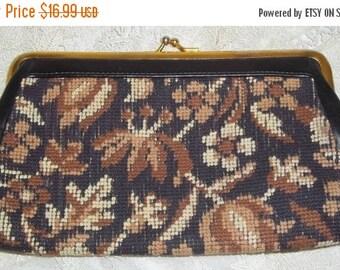 Spooktacular SALE Vintage 1950's Floral Tapestry Clutch Purse Bag Black Brown