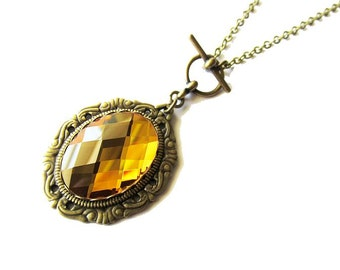 Romantic Vintage Inspired Yellow Topaz Mirror Glass Jewel Pendant Necklace