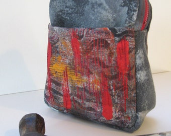 Tall Gray Pouch Painted and Embroidered Bag Red and Orange on Gray Grunge Gadget Bag