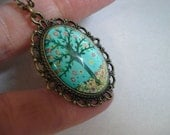 Tree Necklace Teal Blue Necklace Vintage Brass Necklace