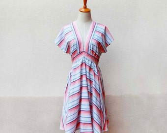V-neck strip shirt dress pink cotton