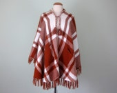 70s rust & cream plaid fuzzy soft poncho cape shawl fringe pockets (one size fits most)