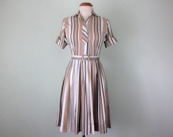 60s taupe cotton striped short sleeve fitted waist pleated day dress (s - m)