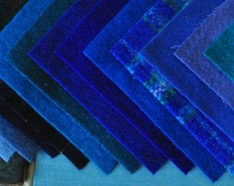 Sustainable Wool Felt - Lapis -  15 Squares - Recycled Wool - Reclaimed Wool Felt - Applique - Rug Hooking Wool - Fulled Wool - Charm Pack