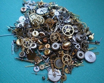 Vintage steampunk watch parts, 1/2 oz (14 grams) - Lots of tiny gears, wheels, hands and stems