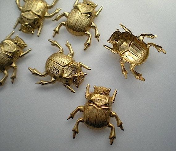 6 medium brass scarab beetle charms