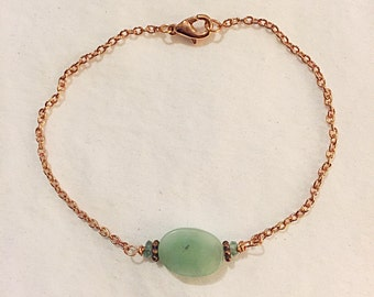 Amazonite Oval and Faceted Apetite Beaded Bracelet on Copper