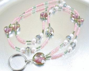 Rainbow Crystal Glass Hearts Beaded ID Lanyard, Badge Holder, Key Chain Necklace