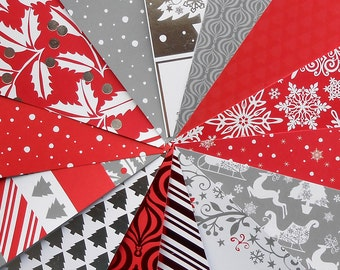 DESTASH - Recollections: Red and White Christmas - Pack of 14 Different Scrapbook Papers, 6 inch X 6 inch