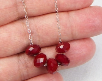 Red Quartz Sterling Silver Necklace - Gift For Her - Genuine Gemstones - Beaded Jewelry - Gemstone Jewelry - Valentine Jewelry