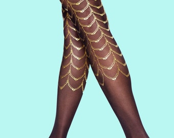 Black & gold Cabaret tattoo tights available in S-M L-XL