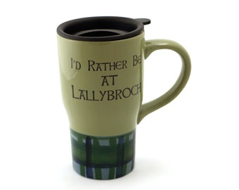Outlander travel mug - Lallybroch mug - ceramic travel mug with handle - Outlander - home and living - Jamie and Claire