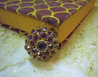 Vintage 1950s Purple Rhinestone Sphre Pendant Unusual Find