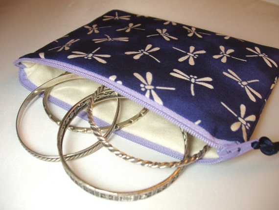Anti tarnish lined jewelry zipper pouch in royal by for Anti tarnish jewelry bags
