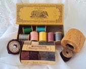 Vintage Darning and Sewing Threads - Wooden Spools and Boxes