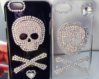 apple iphone 5, 6G 6 plus, 7 case, crystalized fancy skull iphone cover.