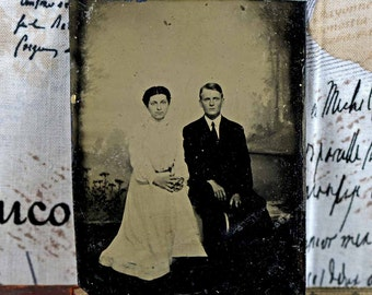 tintype photos of young couples...  c. 1800 antique photo...  photography... Lf