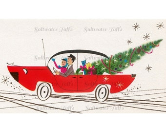Bringing Home the Tree Christmas Image Digital Download vintage transfer card holiday xmas  midcentury convertible cool couple atomic