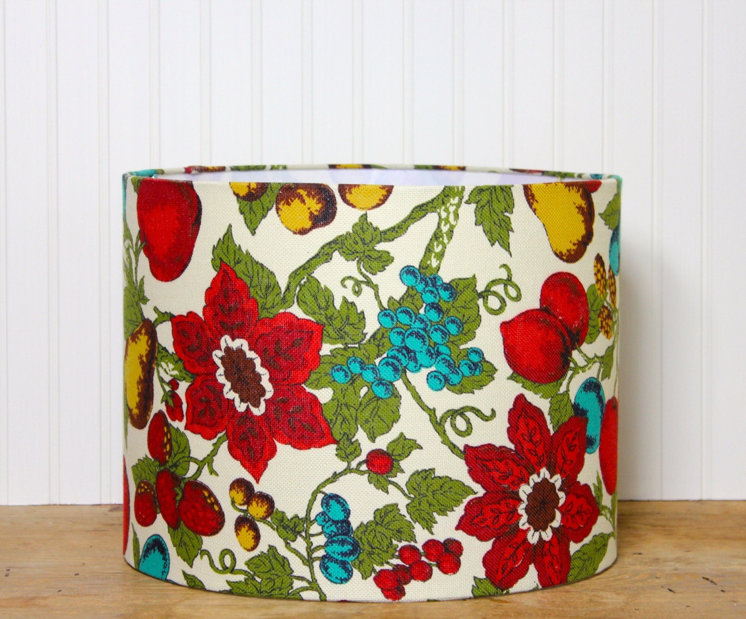 Green Floral Lamp Shade : Floral drum lamp shade vintage red fruit