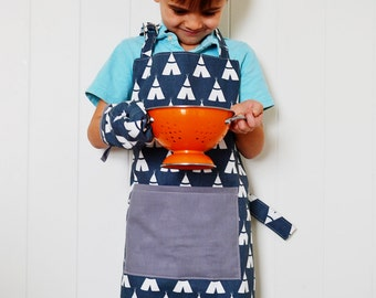 Little boy navy blue teepee apron with matching oven mitt