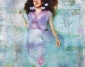 Ophelia, 8 x 8, Photograph, Fine Art Photo, Wall Decor, Purple Dress, Hydrangea
