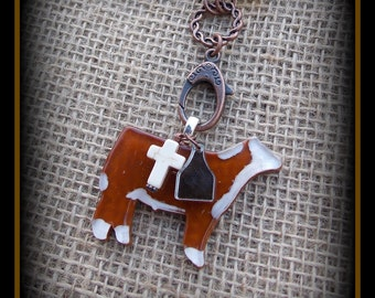 Glass Hereford Steer, Cattle, Heifer, on Long Boho Style leather &  Glass  Bead Chain, Necklace approx  23""