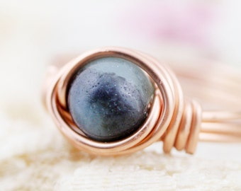 Confidence - amazonite wire wrapped ring (C) (SR)