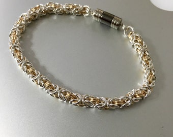 Byzantine Chainmaille Gold & Silver Bracelet With Magnetic Clasp 8.5 Inches