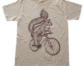 Squirrel on a Bicycle- Creme American Apparel Cotton Shirt  - T-Shirt