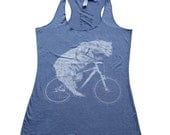 Womens Polar Bear on a Bicycle - Athletic Blue Tank Top