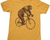 SLOTH on a Bike - American Apparel Mens T Shirt -Heather Gold