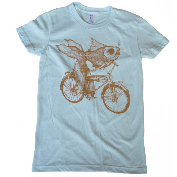 WOMENS Goldfish on a Bicycle - Fine Jersey Ladies T Shirt - Light Blue