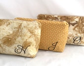Bridesmaids Gift Gold Clutch Cosmetic Bag with Monogram Personalized esmaids Gift Zipper Bag in Gold Fabric with embroidered monogram