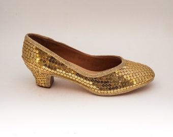 Sequin | Gold Kitten High Heel Pumps Shoes