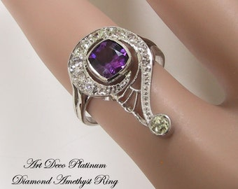 Platinum Diamond Amethyst Art Deco Ring, Art Deco Engagement Ring, Art Deco Jewelry, G Clef Jewelry, Treble Clef Ring, Music Jewelry