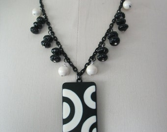Black and White Modern Necklace, Metal Rectangle Pendant, Graphic, Half Circles, Beaded Chain