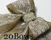 Burlap Pew Bows (20) Natural Burlap and Lace Large Double Bows Rustic Country Chic Wedding Decor Handmade Chair Bow