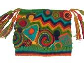 Women's Beanie Jester Hat Freeform Crochet Multicolor Rainbow OOAK