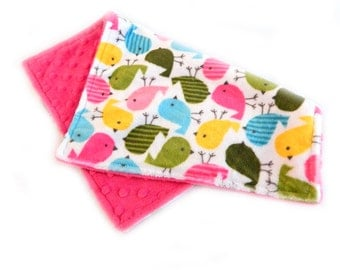 Girl Burp Cloth -Minky Bird Burp Cloth Pink Green Blue Yellow - Mini Lovey - Ready to ship
