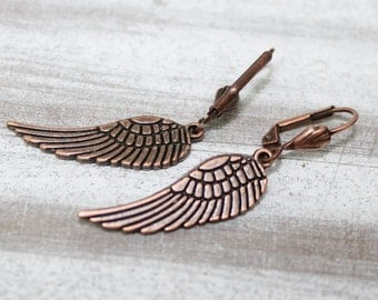 Wings earrings in rose gold color,  dangle, Earrings, modern,wings,rose gold, copper,gipsy,elegant,chabby chic, rocker, boho - Free shipping