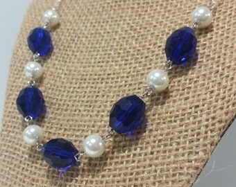 Cobalt Royal Blue and Pearl Necklace