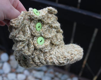 """Ready to ship -Padraig Slippers Crochet Boys Crocodile Stitch  Booties, shoes, socks 4.5"""" long will fit 6-10 months old"""